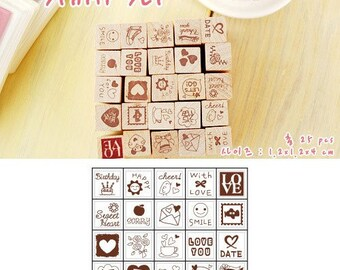 25pcs Rubber Stamps Wooden Box Collection (P91.1 - Love Diary)