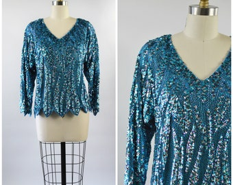 Vintage Oleg Cassini Sequin Top Teal Turquoise Blue and Silver Size Medium Blouse Beads and Sequins Flames Silk Lining Three Quarter Sleeve