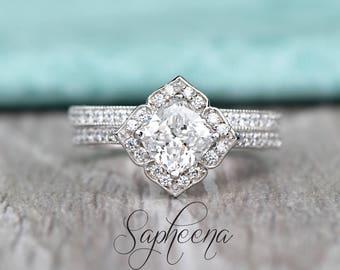 Vintage Floral Cushion Moissanite Engagement Ring&Wedding Band in 14k White Gold,6x6mm Cushion Cut Moissanite Diamond Bridal Set by Sapheena