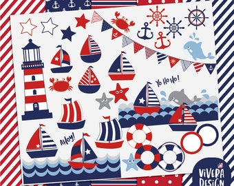 Nautical Sailing Clipart - Lighthouse, ships, anchor, buoy, whale, crab, stars, starfish, waves, sailboat - with Digital Papers