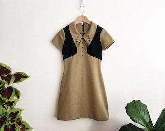 Vintage 60s 70s Mod Black and Brown Collar Mini Dress