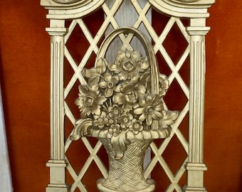 Gold Basket of Flowers Wall Plaque