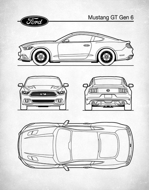 Patent Print Auto Art Ford Mustang Blueprint Car Art