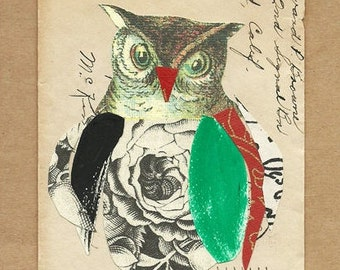 Collage, OWL, original art, collage on vintage envelope, Owl No 2