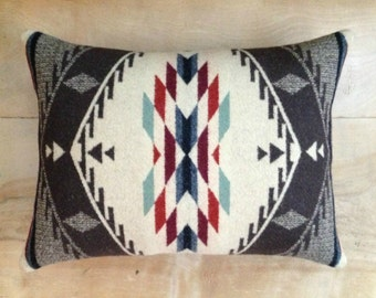 RESERVED Pillow - Pendleton Wool Fabric - Native Geometric Tribal Arrow Southwest Bohemian