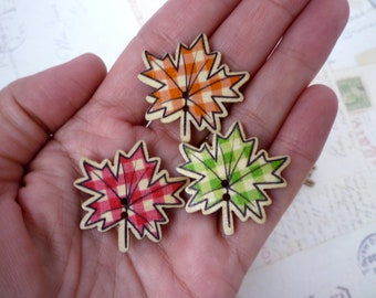 Wooden Buttons - Autumn Leaves - 30mm - Two holes - Mixed Colours, Fall Leaves - Pack of 10