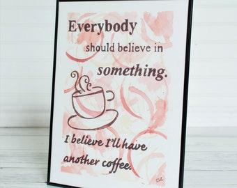 Kitchen Art Print, Coffee Decor, Coffee Ring Art, Coffee Wall Art, Coffee Stain Art, Coffee Art Print, Kitchen Decor, Kitchen Wall Art