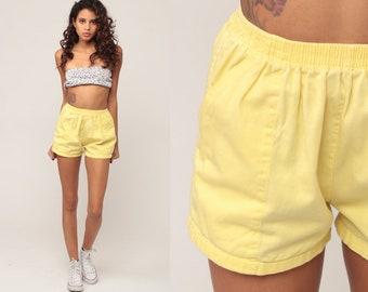 Pastel Yellow Shorts 80s Shorts Jogging Shorts Hotpants Running High Waisted Retro Vintage Joggers Elastic Waist Hipster Extra Small xs