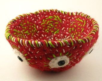 Needle Felted Vessel by Mock Pie Studio, 100% wool, hand made, hand embroidered, decorated basket, ring dish, trinket pot, key bowl, OOAK