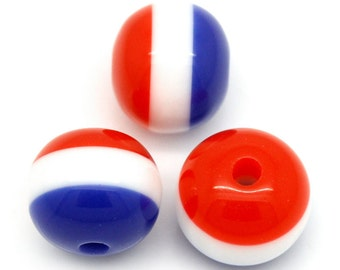 50 Red,White & Blue Acrylic Round Beads 10mm (B300e)