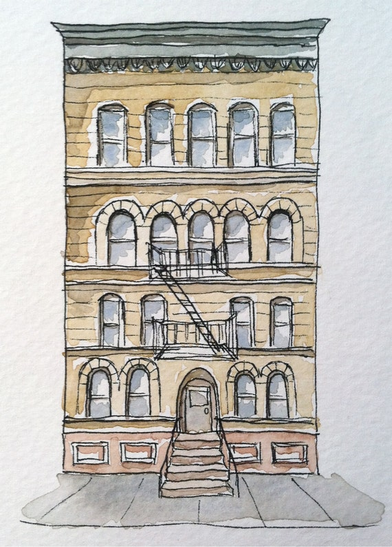 Items similar to brooklyn historic brownstone pen and ink for Printing architectural drawings