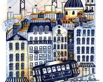 "Art print ""Midnight in Lisbon"""