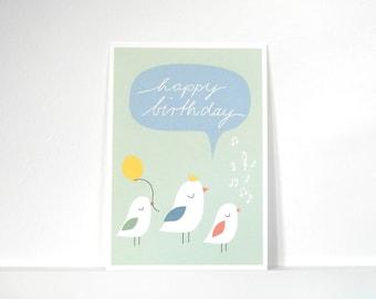 """Postcard bird dance """"Happy Birthday"""""""