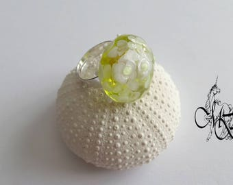 Yellow Lampwork bead ring