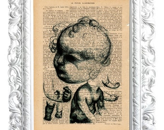 Head Child torso. Print on French publication of illustration. 28x19cm.