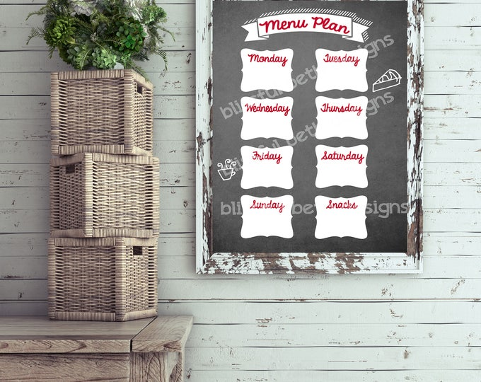 CHALKBOARD MENU PLANNER Weekly Menu Plan, Printable Menu Planner, Instant Download Planner, Weekly Menu, Printable Menu Plan, Menu Planning