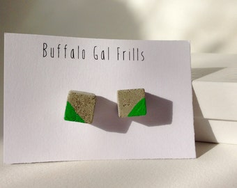 Tiny Cement Cube Post Earrings with Green Accent