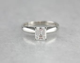 Diamond Solitaire Platinum Engagement Ring, GIA Certified Diamond, Asscher Cut Diamond Ring 6XHCXZP7-P