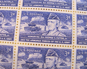 Old Blood and Guts Full Sheet of 50 Vintage UNused US Postage Stamps 1953 3c General George Patton WWI WWII Violet Purple Wedding Postage