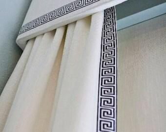 Greek Key Trim Curtains and Cornice Custom QUICK SHIP Fabric custom length and width designer trimmed curtains ribbon trim cornice curtains