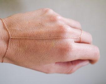 14k solid rose gold slave bracelet, hand chain, finger bracelet, ring chain, ring bracelet