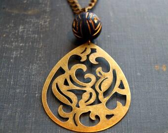 Vintage Filigree Necklace Vintage Pendant Necklace Large Statement Necklace Long Boho Necklace Brass Statement Jewelry Minimalist Necklace