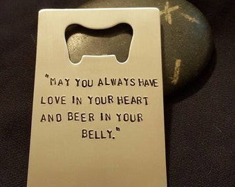 Wallet Bottle Opener - Hand Stamped -- Credit Card Size -- Bottle Opener - Customized