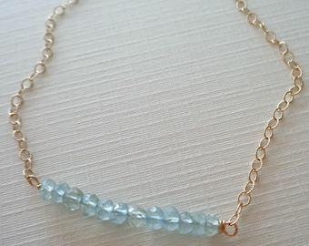 Dainty Birthstone Bar Necklace/Dainty Aquamarine Amethyst Necklace/March Birthstone/February Birthstone/Aquamarine Amethyst Gold Silver/GS12