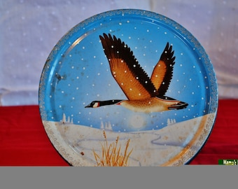 Animals, Fowl, Tin, Container, Collectible, Blue