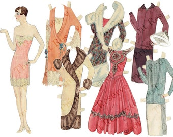 Printable Paper Doll Instant Digital Download 1920s Hand Drawn Art Deco