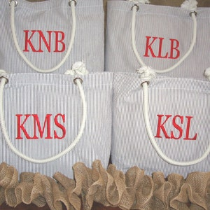 Gray Seersucker Bridesmaids Gifts//Personalized Beach Bag with Rope Handles//Monogrammed Bridesmaid Tote//Graduation Gift