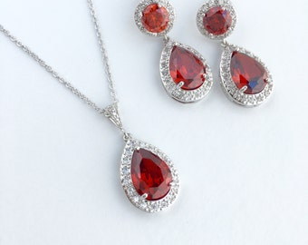 Red Crystal Bridal Set Red Cubic Zirconia Jewelry Set Ruby Wedding Teardrop Set Red Bridal Crystal Jewelry Set Red Bridesmaid Jewelry Set