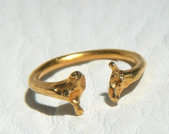 Gold Plated Open Adjustable Snake Bones Ring in Sterling Silver 14k gold coat Nature cast Snake Ribs Taxidermy Jewelry Open Horseshoe band