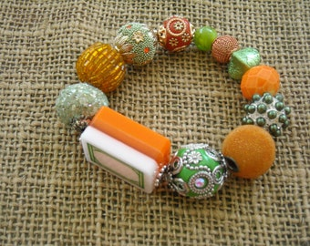Perles de Mahjong Bracelet - livraison gratuite - Jesse James - Mahjong Orange - bijou Oriental - Mahjong - cadeau idée cadeau