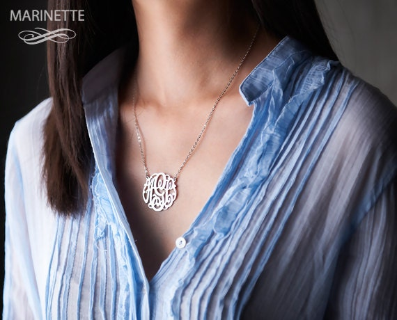 Silver monogram necklace monogrammed necklace initial silver monogram necklace monogrammed necklace initial necklace personalized necklace bridesmaid necklace custom necklace 125 aloadofball Images