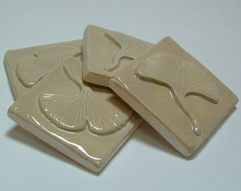 Gingko/Ginkgo tiles set of 4 Arts and Crafts tile for fireplace, kitchen & bath
