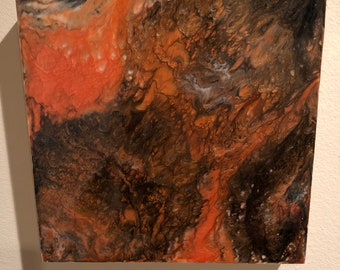 Abstract Painting-Resin Pour on Wood Paneled Canvas