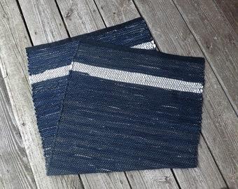 Handwoven Rag Rug in Midnight Blue and White Denim, RA30
