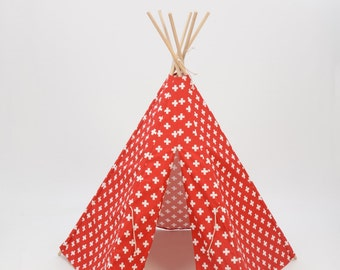 Teepee Play Tent round wood poles included Red and White Medium Cross- 6 panel