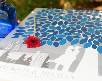 Canvas Wedding Tree Guest Book // Personalized Skyline & Silhouette Print // 175+ Signature Guestbook // W-T05-1PS HH3