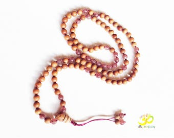 Sandalwood and Strawberry Quartz 108 Mala, Hand Knotted Yoga Jewelery For Mantra and Meditaion, Buddhist Beads, Prayer Beads
