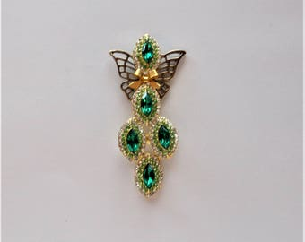 The Queen of Ireland in Gold with Emerald Green Crystals Angel Pin