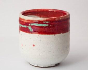 "Yunomi Tea Bowls for Tea Ceremony use. Raku wabi sabi tea cup. Red and white  handmade teabowl. 3.5"" tall, 3.5"" wide. 10 fl oz."