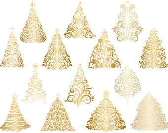 Gold Christmas Tree Clipart, Gold Flourish Swirls Christmas Tree Clipart, Hand Drawn Christmas Tree, Instant Download Christmas Tree 0418