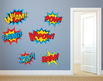 Captivating Superhero Wall Decals   Superhero Decal Set   Superhero Fabric Decals, Pow  Decal, Bam