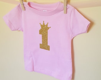 Pink  Gold 1st Birthday Shirt, 1st Birthday Shirt , 1st birthday top, toddler tops, baby shirt