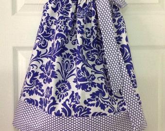 READY TO SHIP - Royal Blue Damask Pillowcase Dress Size 4