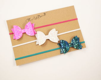 Honeycomb bows, bow headband set, dainty bow headbands, baby headband set
