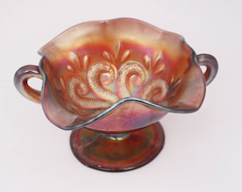 Pearlescent Purple Orange Carnival Glass Bowl in Question Marks Pattern with AB Surface by Dugan