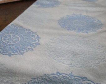 White and Blue Medallion Flowy Vintage Fabric - One Yard